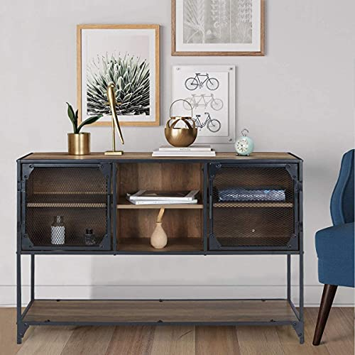 YOLENY Industrial Kitchen Buffet Floor Cabinet, Console Table with 6 Cupboard, 1 Large Sized Displaying Shelves and 1 Spacious Desk Top, for Dining Room Living Room Entry Bedroom