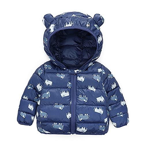 AOCRD Conjunto de ropa infantil de forro polar con capucha y cremallera y capucha con orejas, para niños y niñas, azul oscuro, 5 años
