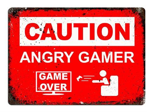 Angry Gamer Póster de Pared Metal Creativo Placa Decorativa Cartel de Chapa Placas Vintage Decoración Pared Arte Muestra para Bar Club Café