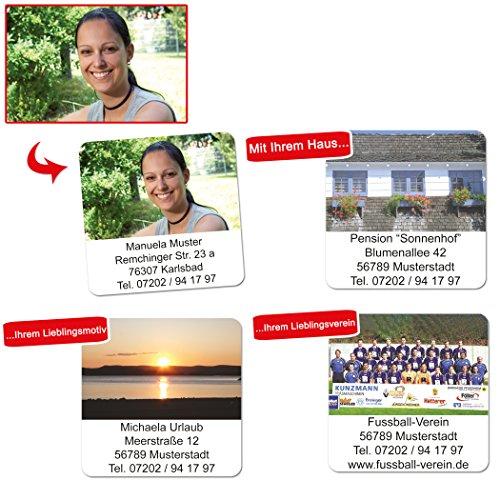 Foto-Etiketten mit Ihrem Wunschtext & Ihrem Bild, 96 Stück, ca. 40 x 40 mm, für bis zu 5 Zeilen Text