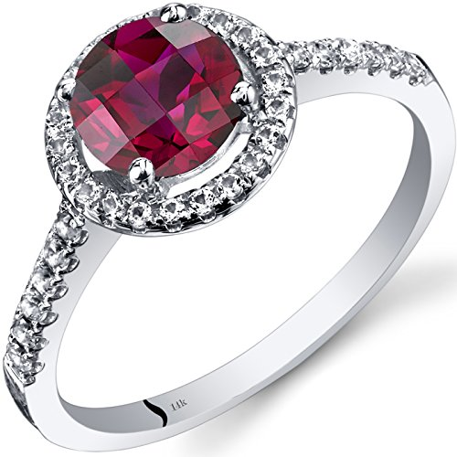 14K White Gold Created Ruby Halo Ring Round Checkerboard Cut 1.25 Carats Size 5