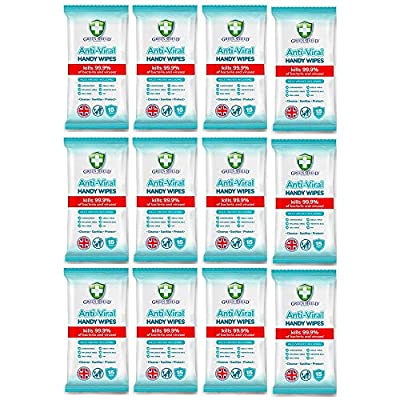 GreenShield Anti-Viral Handy Wipes 15's Kills 99.9% of Bacteria (12 Pack) by GreenShield