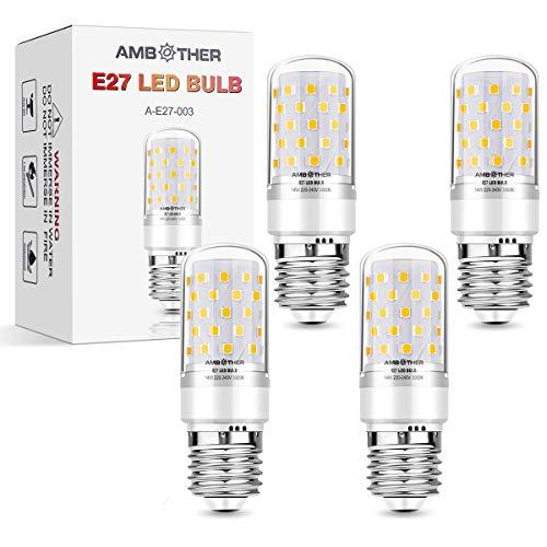 AMBOTHER E27 LED Warmweiß, 8W 800LM LED Brine E27 statt 80W Halogenlampe, 3000K Mais Glühbirne E27 Maiskolben Lampen Energiesparlampe Leuchtmittel Kein Flackern AC220-240V 4er Pack