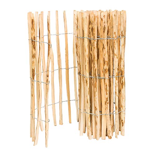 BOGATECO Staketenzaun Haselnuss Kastanie | Holz-Zaun 120 cm Hoch & 500 cm Lang | Lattennabstand 4-5 cm | Perfekt als Gartenzaun