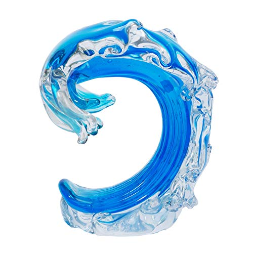 Beachcombers SS-BCS-03243 Rolling Ocean Coastal Tabletop or Wall Sculptures Nautical Decor Glass Art Blue