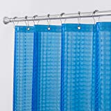 Aimjerry 3D Eva Blue Shower Curtain Liners Set for Bathroom with 12 Plastic Hooks, Longer Waterproof 72x78 inc