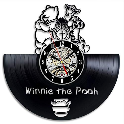 TIANZly Retro Vinyl Wanduhr Retro Modernes Design Cartoon 3D Aufkleber Winnie The Pooh Uhr Wanduhr Dekoration Stille