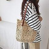 Bolso de hombro de cubo de mujer Bolso de playa de playa de verano para mujer Bolso de mujer Bolso de compras Bolso de niña Champán