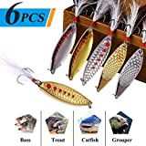TOPFORT 6pcs Fishing Lures,Fishing Spoons, Trout Lures, Spinner Baits, Bass Lures, Spinning Lures Fishing Spoon with Box…