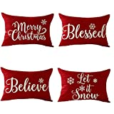 FELENIW Set of 4, Happy Winter Snowflake Blessed Believe Let It Snow Merry Christmas Cotton Linen Decorative Throw Pillow Cover Cushion Case Lumbar 12x20 inches