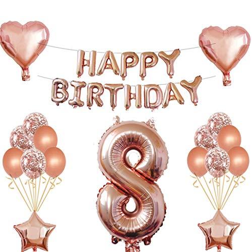 8 Geburtstag Mädchen Dekoration Rose Gold, 8. Geburtstag deko für Mädchen Jungen Happy Birthday Girlande Banner Folienballon Konfetti Luftballons Deko Geburtstag Party Anzahl Ballons