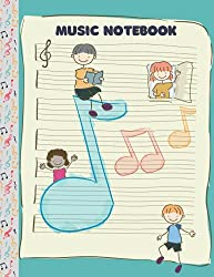 MUSIC NOTEBOOK: Piano Music Notebook For Kids, Blank Sheet, Wide Staff, 6 staves per page, 120 pages, 8.5 x 11, Aquamarine Background Cover