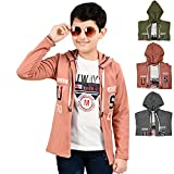Softy Jeans Fashion Importerd Hosiery Fabric Full Sleeves Boy Shrug/Jacket with Hoodie, Beige, 11 to 12 Years