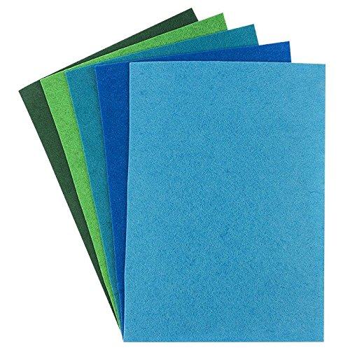 Filz, 2mm stark, DIN A4, 5 Bogen | DIY, Patchwork, Handwerk, Filzstoff, Bastelfilz (Grün-/Blautöne)