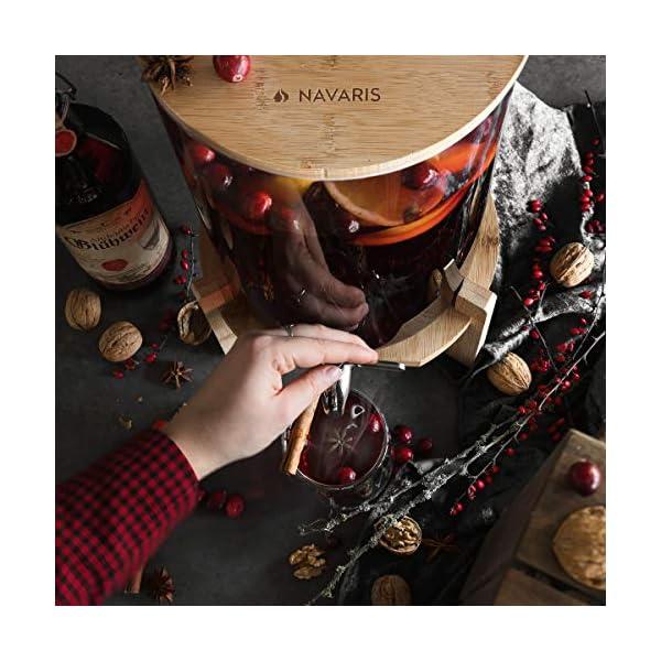 Navaris Dispensador de Bebidas de Cristal – Botella con Grifo Soporte