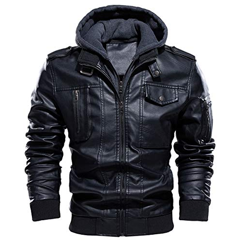Faux Leather Jackets With Hood for Men's