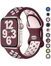 Upeak Sport Bandje Compatibel met Apple Watch Bandje 38mm 40mm 42mm 44mm, Ademend Dubbel Gat Gesp Horlogebandjes Siliconen, voor iWatch Band Series 6 5 4 3 2 1 SE, 38mm/40mm-S/M, Wijn Rood/Roze