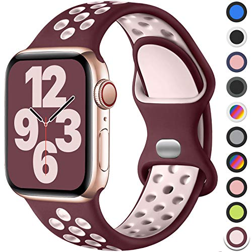 Upeak Sport Armband Kompatibel mit Apple Watch Armband 40mm 38mm 44mm 42mm, Atmungsaktiv Silikon Doppelloch Schnappschnalle Band, für iWatch Series 6 5 4 3 2 1 SE, 38mm/40mm-S/M, Wein Rot/Rosa