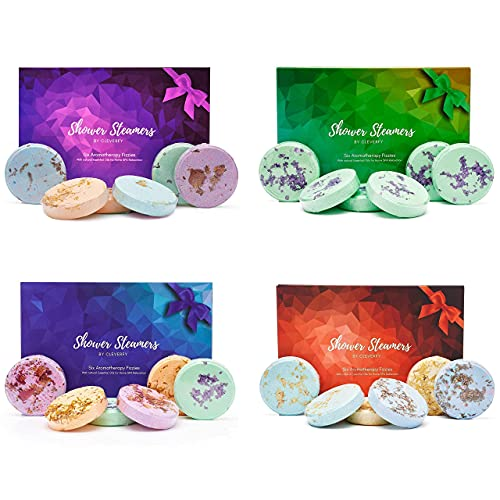 Cleverfy Shower Steamers 4 Pack - Perfect Mothers Day Gifts for Women. Every Shower Bombs Gift Set Includes 6X Aromatherapy Shower Steamers with Essential Oils for Relaxation.
