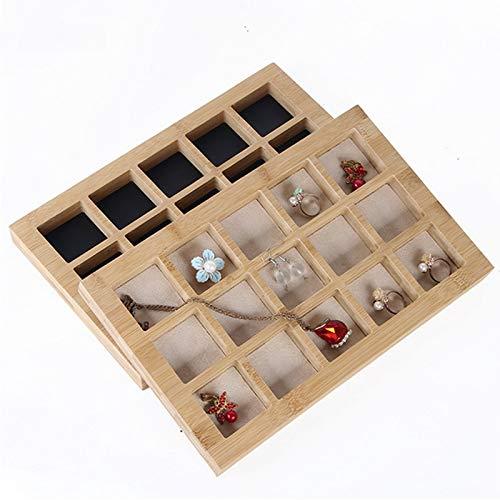 MUY Bandeja de exhibición de joyería de bambú Pendientes Nexklaces Colgantes Anillos Accesorios de joyería Embalaje de joyería Simple para Mujeres Caja de Recuerdos Regalo de Pascua
