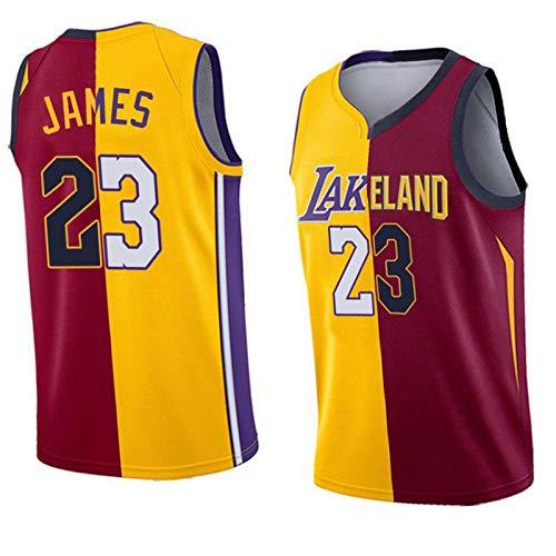 WXZB Jersey de Baloncesto 23# James, Cavaliers Laker Contraste Color Jersey, Baloncesto sin Mangas Uniforme de Baloncesto Hombres y Mujeres Jersey Retro color2-M