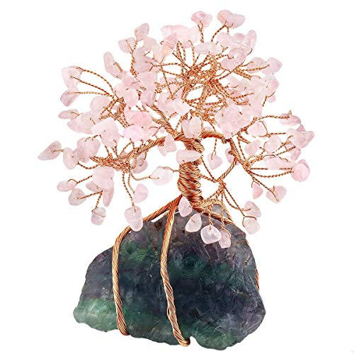 SUNYIK Natural Rose Quartz Money Tree Wrapped on Fluorite Cluster Base Bonsai Sculpture Figurine 3.5 Inches