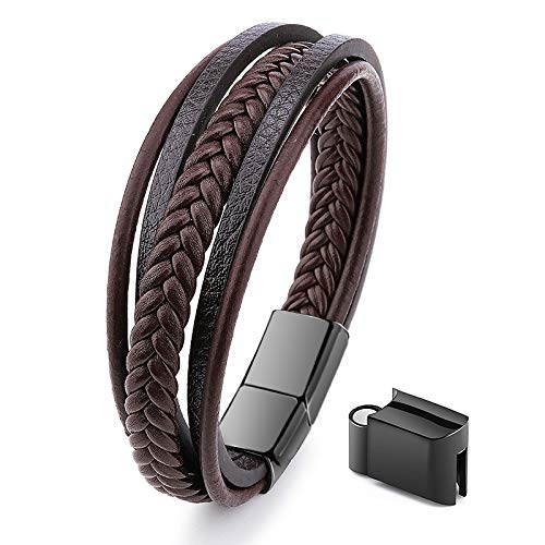 Jewellbox - Men's Leather bracelet in Brown, Adjustable Leather Wristband for Men