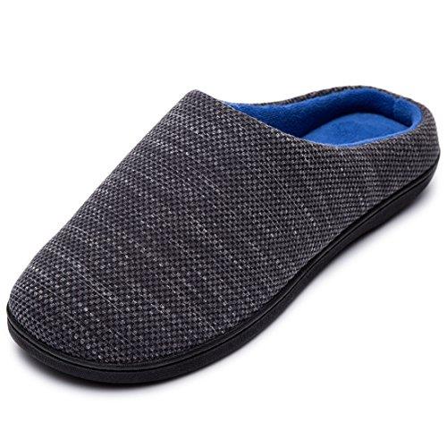 RockDove Birdseye Knit Memory Foam Slipper para hombre, talla 7-8 US Hombre, gris jaspeado/azul