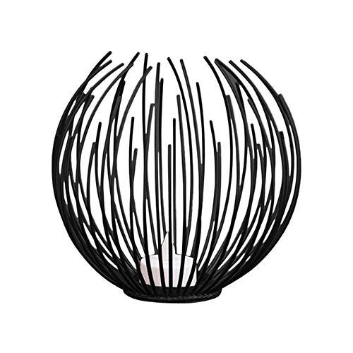 Wankd Teelichthalter, Metall Draht Kerzenleuchter Kerzenhalter, Oval Korb Halter Kerze Deko Dekoration,Schwarze Geometrie, 5 * 15CM