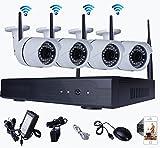 GLOBALSHOPSELL kit de videovigilancia inalámbrico dvr nvr 4 canales 4 cámaras wifi