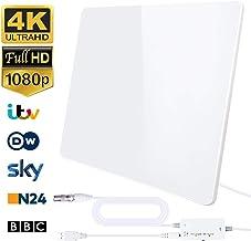 2020 Newest Antena de TV,Antena de TV Digital para Interiores de Alcance de 200KM con Amplificador Inteligente de Señal, Adecuada para Canales de TV Gratis 1080P 4K, con Cable Coaxial de 5M