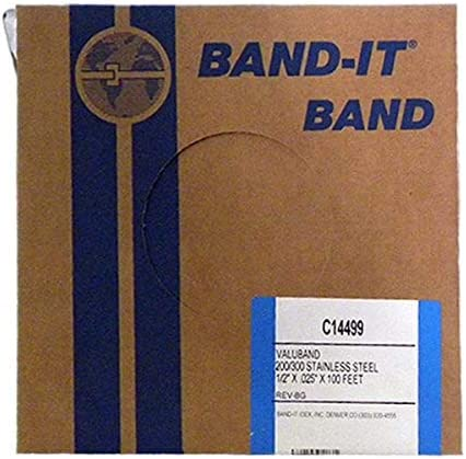 BAND IT Valuband Band C14499 200 300 Stainless Steel 1 2 Wide x 0 025 Thick 100 Foot Roll product image