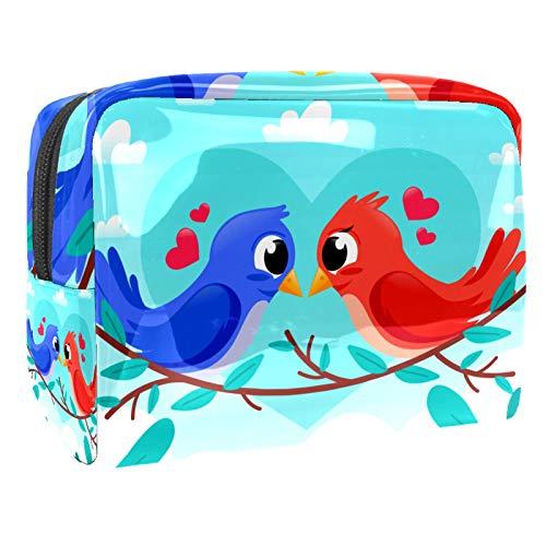 Bolsa de maquillaje portátil con cremallera, bolsa de aseo de viaje para mujeres, práctica bolsa de almacenamiento para cosméticos, lindos pájaros pareja