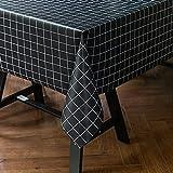 JIALIANG Almohadilla protectora de PVC impermeable para mesa/mesa mesa mesa cubierta de mesa sin arrugas y resistente a las manchas, 140x200cm, negro