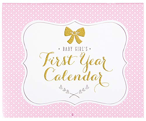 C.R. Gibson Pink, White, and Gold ''Baby Girl's'' First Year Baby Calendar for Newborn Girls Memory Book with Stickers, 11'' L x 18'' H