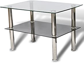 Festnight Coffee Table Glass 2 Tiers Living Room Furniture 65 x 45 x 43 cm