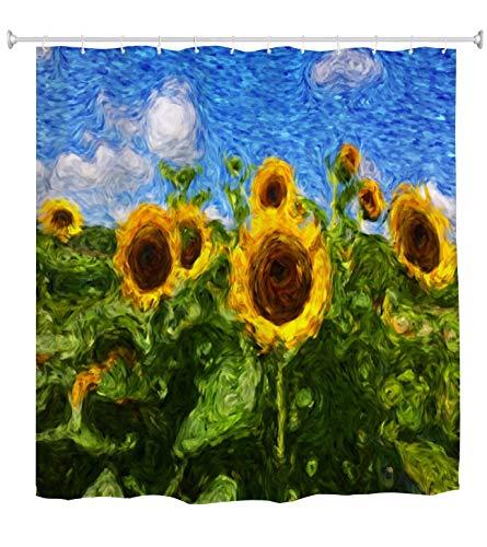 A.Monamour Duschvorhänge Sonnenblumen Von Vincent Van Gogh Ölgemälde Kunstdruck Wasserdicht Schimmelresistent Polyestergewebe Duschvorhang Für Bad-Accessoires 180X200 cm / 72