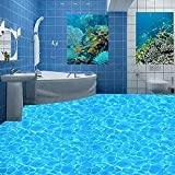 Papel Pintado De Suelo De Pvc 3D Personalizado Mural De Agua Con Gas De Cristal Azul Para Baño Impermeable Antideslizante Autoadhesivo Pegatina De Suelo-400X280Cm 3D A Prueba De Agua De Baño Cocina