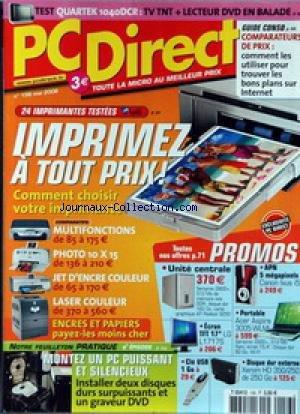 PC DIRECT [No 156] du 01/05/2006 - QUARTEK 1040DCR - IMPRIMEZ A TOUT PRIX - MULTIFONCTIONS - PHOTO 10X15 - JET D'ENCRE COULEUR ET LASER COULEUR - PROMOS - MONTEZ UN PC PUISSSANT ETSILENCIEUX.