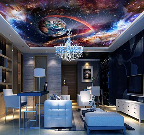 Universe Outer Space 3d Ceiling Wallpaper Murals for Walls Living Room Hall 3d Wall Ceiling Mural 3d Wall paper Sticker,430 * 300cm