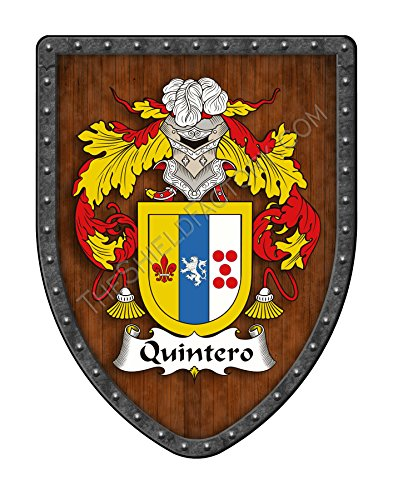 Quintero Family Crest Custom Coat of Arms, Family Ancestry and Heritage Hanging Metal Wall Plaque Shield - Hand Made in the USA