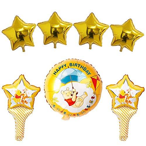 LIANGLMY Globo Winnie The Pooh Palo Globos 18inch Winnie Oso Partido Estrella de Oro Globo de Aire cumpleaños Decoraciones Juguetes for niños (Color : Winnie Star Set)