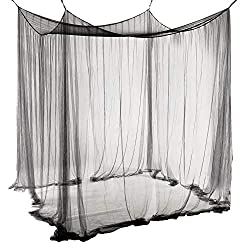 Qucover polyester canopy, beautiful canopy, mosquito net size, mosquito net for double bed (black)