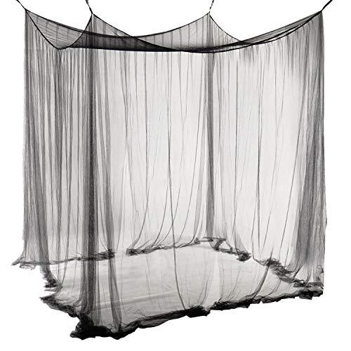 Unimall Mosquitera para Cama Matrimonio Anti mosquitos para el Hogar o de Vacaciones con Cuatro Esquina Post Cama Princesa Dosel Mosquitera con Apertura Grande(malla densa) (Negro)