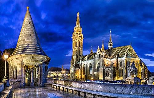 YHKTYV Notre Dame De Paris in het nachtlampje 120 stuks houten legpuzzel voor volwassenen en kinderen thuis en kantoor…