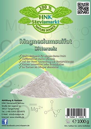 Bittersalz Magnesiumsulfat 1kg - natürliche Hilfe beim Fasten und Heilfasten - Abführmittel - Leberreinigung
