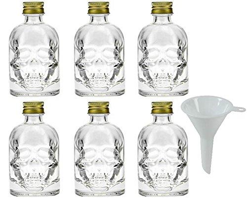mikken 6x kleine Glasflasche 50 ml, Karaffe in Totenkopf Form mit Schraubschluss zum Selbstbefüllen inkl. einem Trichter