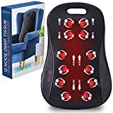 Shiatsu Deep Kneading Back Massager - 12 Rolling Nodes Heated Portable Electric Massage Chair Pad - Relax, Relief Back Pain and Muscle Soreness - Home, Office, Car Use