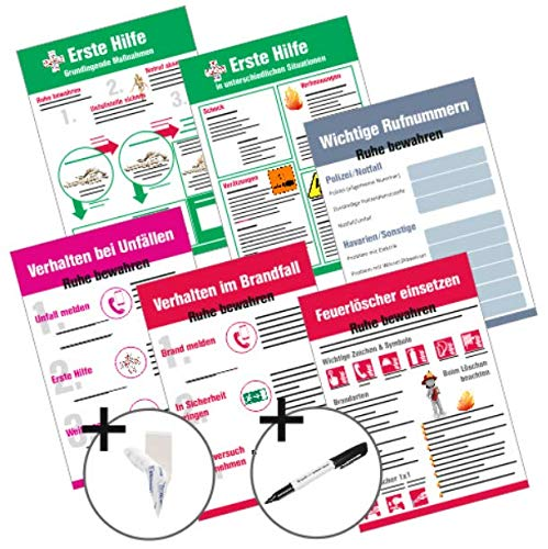 Schilder Set   Maßnahmen Erste Hilfe, Brandschutz, Unfall, Notfall, 6X A4 Kunststoffschild, 12x Powerstripes, 1x Permanentmarker