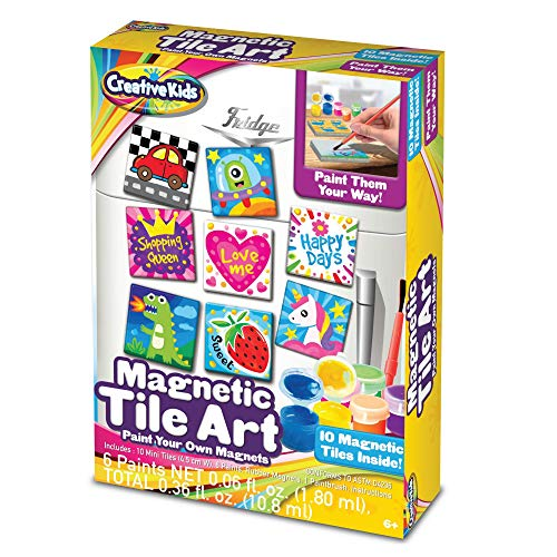 Creative Kids DIY Magnetic Mini Tile Art – Paint & Make Your Own Tile Art & Crafts Kits for Children | Party Favor Pack, Schools, Birthdays | for Boys & Girls Ages 6+
